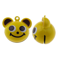 Brass Bell Pendant, Bear, painted, yellow, nickel, lead & cadmium free, 30x26x22mm, Hole:Approx 1.5mm, 50PCs/Bag, Sold By Bag