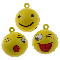 Brass Bell Pendant, Round, painted, different designs for choice, yellow, nickel, lead & cadmium free, 26x30x26mm, Hole:Approx 1.5mm, 30PCs/Bag, Sold By Bag