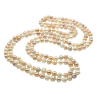 Natural Freshwater Pearl Long Necklace, Potato, multi-colored, 8-9mm, Sold Per Approx 59.5 Inch Strand