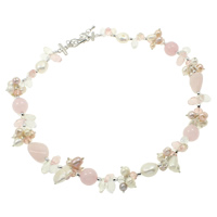 Natural Freshwater Pearl Necklace with Pink Agate   Quartz   Brass with 4cm extender chain faceted multi-colored 12mm 6-7mm 12-13mm Sold Per Approx 19 Inch Strand