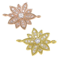 Cubic Zirconia Micro Pave Brass Connector Flower plated micro pave cubic zirconia   1/1 loop nickel lead   cadmium free 20x15x2mm Hole:Approx 1.5mm 10PCs/Lot