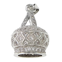 Cubic Zirconia Micro Pave Brass Pendant Crown platinum plated micro pave cubic zirconia nickel lead   cadmium free 12x19mm Hole:Approx 3x4mm 10PCs/Lot