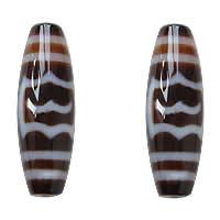 Natural Tibetan Agate Dzi Beads, Oval, garuda & two tone, Grade AAA, 13x38mm, Hole:Approx 2mm, 5PCs/Lot, Sold By Lot