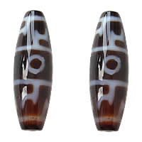 Natural Tibetan Agate Dzi Beads, Oval, lotus-born cap & two tone, Grade AAA, 12x38mm, Hole:Approx 2mm, Sold By PC