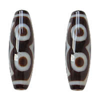 Natural Tibetan Agate Dzi Beads, Oval, two tone, Grade AAA, 12x38mm, Hole:Approx 2mm, 5PCs/Lot, Sold By Lot