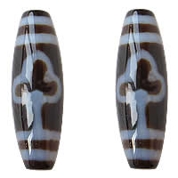Natural Tibetan Agate Dzi Beads, Oval, leaf & two tone, 13x38mm, Hole:Approx 2mm, Sold By PC