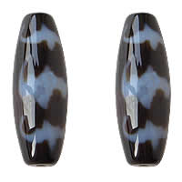 Natural Tibetan Agate Dzi Beads, Oval, five blessings & two tone, Grade AAA, 13x38mm, Hole:Approx 2mm, Sold By PC