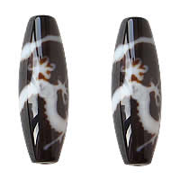 Natural Tibetan Agate Dzi Beads, Oval, five-claw dragon & two tone, Grade AAA, 13x38mm, Hole:Approx 2mm, 2PCs/Lot, Sold By Lot