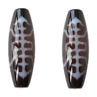 Natural Tibetan Agate Dzi Beads, Oval, two tone, Grade AAA, 12x38mm, Hole:Approx 2mm, Sold By PC