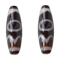 Natural Tibetan Agate Dzi Beads, Oval, sun earth water & two tone, Grade AAA, 12x38mm, Hole:Approx 2mm, 5PCs/Lot, Sold By Lot