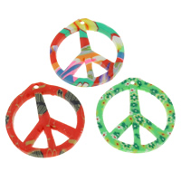 Polymer Clay Pendants, Peace Logo, handmade, mixed colors, 28x30x3mm, Hole:Approx 1mm, 100PCs/Bag, Sold By Bag