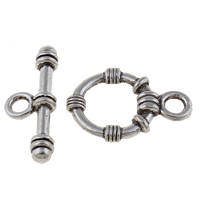 Zinc Alloy Toggle Clasp, Donut, antique silver color plated, single-strand, lead & cadmium free, 21x15x3.5mm, 9x24x4mm, Hole:Approx 3mm, 20Sets/Bag, Sold By Bag