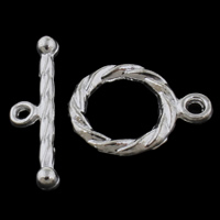 Zinc Alloy Toggle Clasp, Donut, silver color plated, single-strand, lead & cadmium free, 15x11x2mm, 5x18x3mm, Hole:Approx 1.5mm, 20Sets/Bag, Sold By Bag