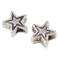Zinc Alloy Jewelry Beads Star antique silver color plated nickel lead   cadmium free 5x5x2mm Hole:Approx 1mm Approx 10600PCs/KG