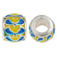 925 Sterling Silver European Beads, Drum, without troll & enamel, 9x7.5mm, Hole:Approx 4.5mm, 20PCs/Bag, Sold By Bag