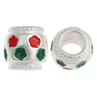 925 Sterling Silver European Beads, Drum, without troll & enamel, 8x7mm, Hole:Approx 4mm, 30PCs/Bag, Sold By Bag