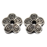 Thailand Sterling Silver Beads, Flower, 8x8x4mm, Hole:Approx 1mm, 30PCs/Bag, Sold By Bag