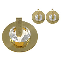 Stainless Steel Jewelry Sets, pendant & earring, 304 Stainless Steel, with Crystal, Flat Round, gold color plated, faceted, 35x36.5x13mm, 15x17x5mm, Hole:Approx 7x8mm, 5Sets/Lot, Sold By Lot