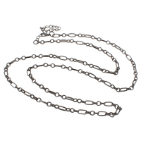 Iron Necklace Chain, with 7cm extender chain, plated, figaro chain, more colors for choice, nickel, lead & cadmium free, 4.5x5x1mm, 3.8x9x1mm, Sold Per Approx 21 Inch Strand