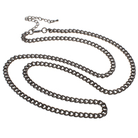 Iron Necklace Chain, with 7.5cm extender chain, plated, curb chain, more colors for choice, nickel, lead & cadmium free, 4.50x7x1.40mm, Sold Per Approx 20.5 Inch Strand