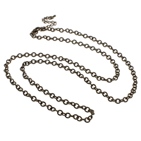 Iron Necklace Chain, with 7cm extender chain, antique bronze color plated, oval chain, nickel, lead & cadmium free, 4.50x5x1mm, Length:Approx 30 Inch, 10Strands/Bag, Sold By Bag