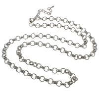 Iron Necklace Chain, with 8cm extender chain, platinum color plated, rolo chain, nickel, lead & cadmium free, 8x8x2mm, Sold Per Approx 29 Inch Strand