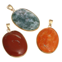 Mixed Gemstone Pendants, with Brass, gold color plated, 31x47x8mm-35x50x8mm, Hole:Approx 6x8mm, 20PCs/Bag, Sold By Bag