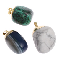 Mixed Gemstone Pendants, with brass bail, gold color plated, 22x27x14mm-30x42x26mm, Hole:Approx 2x6mm, 20PCs/Bag, Sold By Bag
