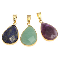 Mixed Gemstone Pendants, with Brass, gold color plated, faceted, 19x30x7mm, Hole:Approx 6x8mm, 20PCs/Bag, Sold By Bag