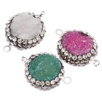 Druzy Connector Quartz with Brass platinum color plated druzy style   with rhinestone   mixed   1/1 loop 18x13x6mm-22x16x7mm Hole:Approx 2mm 10PCs/Bag