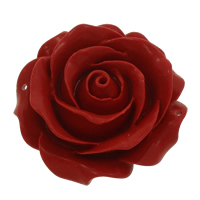 Coral Connectors, Flower, carved & 1/1 loop, red, 51x23mm, Hole:Approx 2mm, 10PCs/Bag, Sold By Bag