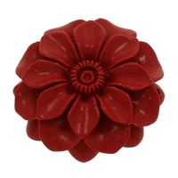 Coral Connectors, Flower, carved & 1/1 loop, red, 50x13mm, Hole:Approx 2mm, 10PCs/Bag, Sold By Bag