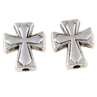 Zinc Alloy Jewelry Beads Cross antique silver color plated nickel lead   cadmium free 11x13x4mm Hole:Approx 1mm Approx 667PCs/KG