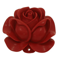 Coral Connectors, Flower, carved & 1/1 loop, red, 49x21mm, Hole:Approx 2mm, 10PCs/Bag, Sold By Bag