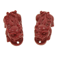 Coral Connectors, Fabulous Wild Beast, carved & 1/1 loop, red, 27x12x14mm, Hole:Approx 1mm, 20Pairs/Bag, Sold By Bag