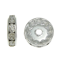 Rhinestone Spacers, Brass, Rondelle, silver color plated, with rhinestone, nickel, lead & cadmium free, 12x12x3.60mm, Hole:Approx 2mm, 500PCs/Bag, Sold By Bag
