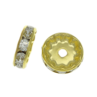 Rhinestone Spacers, Brass, Rondelle, gold color plated, with rhinestone, nickel, lead & cadmium free, 12x12x3.60mm, Hole:Approx 2mm, 500PCs/Bag, Sold By Bag
