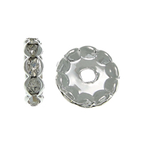 Rhinestone Spacers, Brass, Rondelle, silver color plated, with rhinestone, nickel, lead & cadmium free, 12x12x3.40mm, Hole:Approx 2.5mm, 500PCs/Bag, Sold By Bag