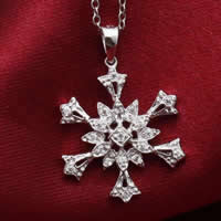 Cubic Zirconia Micro Pave Sterling Silver Pendant, 925 Sterling Silver, Snowflake, platinum plated, micro pave cubic zirconia, 17x20mm, Hole:Approx 3x5mm, 10PCs/Lot, Sold By Lot