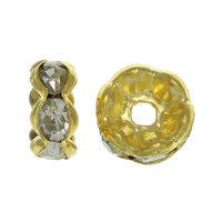 Rhinestone Spacers, Brass, Rondelle, gold color plated, with rhinestone, nickel, lead & cadmium free, 4x4x2mm, Hole:Approx 1.2mm, 500PCs/Bag, Sold By Bag
