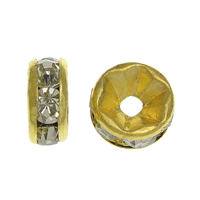 Rhinestone Spacers, Brass, Rondelle, gold color plated, with rhinestone, nickel, lead & cadmium free, 4x4x2mm, Hole:Approx 0.8mm, 500PCs/Bag, Sold By Bag