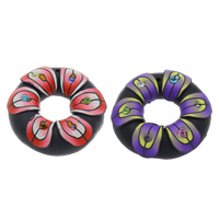 Polymer Clay Pendants, Donut, handmade, with rhinestone, mixed colors, 43x10mm, Hole:Approx 1.5mm, 100PCs/Bag, Sold By Bag