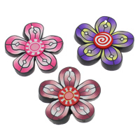 Polymer Clay Pendants, Flower, handmade, mixed colors, 49x7mm, Hole:Approx 1.5mm, 100PCs/Bag, Sold By Bag