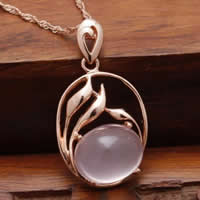 Natural Jade Pendants 925 Sterling Silver with Pink Calcedony Flat Oval real rose gold plated hollow 16x24mm Hole:Approx 3x5mm 5PCs/Lot