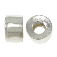 925 Sterling Silver European Beads, Column, without troll, 6.60x11mm, Hole:Approx 5mm, 20PCs/Lot, Sold By Lot