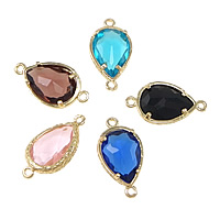 Brass Jewelry Connector, Teardrop, gold color plated, high quality plating and never fade & with cubic zirconia & faceted & 1/1 loop, more colors for choice, 22x12x5mm, Hole:Approx 1.5mm, 10PCs/Lot, Sold By Lot