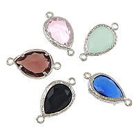 Brass Jewelry Connector, Teardrop, platinum color plated, with cubic zirconia & faceted & 1/1 loop, more colors for choice, 22x12x5.50mm, Hole:Approx 1.5mm, 10PCs/Lot, Sold By Lot
