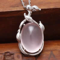 Natural Jade Pendants 925 Sterling Silver with Pink Calcedony Flat Oval platinum plated 15x27mm Hole:Approx 3x5mm 5PCs/Lot
