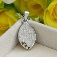 Cubic Zirconia Micro Pave Sterling Silver Pendant, 925 Sterling Silver, Horse Eye, platinum plated, micro pave cubic zirconia, 10.77x19.36mm, Hole:Approx 3x5mm, 5PCs/Lot, Sold By Lot