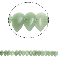Green Aventurine Beads, Teardrop, natural, 21x31x5mm, Hole:Approx 1mm, Approx 23PCs/Strand, Sold Per Approx 15.5 Inch Strand